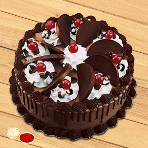 Cheering Choice Chocolate Cake with free Roli Tilak and Chawal