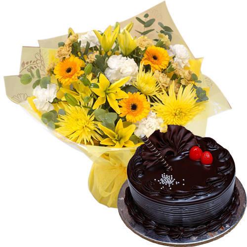 Combo of Bakery-Fresh Choco Truffle Cake & Mixed Flowers Bouquet