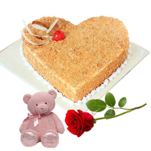 Enjoyable Heart Shape Butter Scotch Cake with Red Rose N Teddy