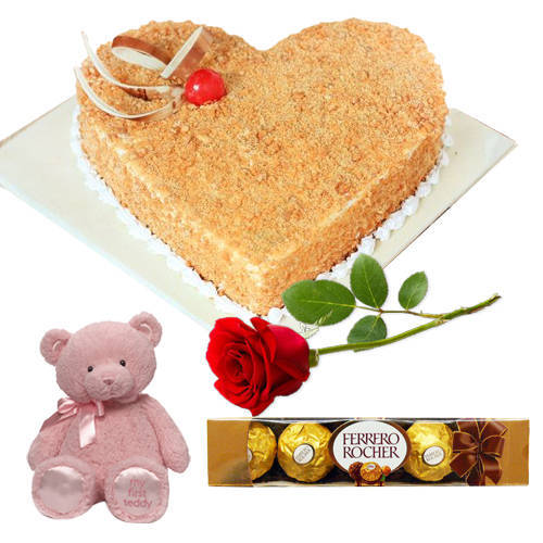 Joyfull Love Butterscotch Cake with Teddy, Ferrero Rocher N Single Rose