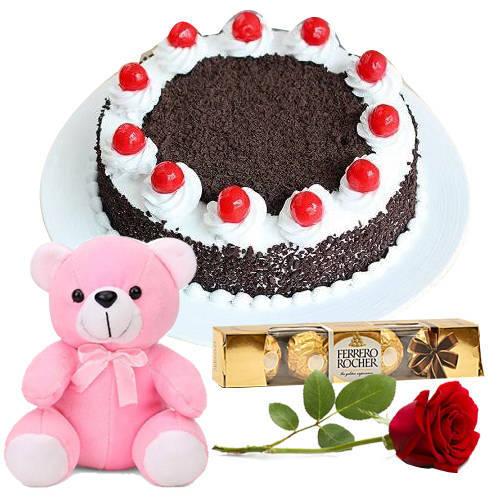 Fresh-Cut Red Rose with Black Forest, Teddy N Ferrero Rocher