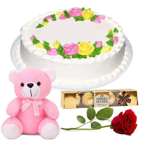 Appealing Vanilla Cake with Teddy, Ferrero Rocher N Single Rose