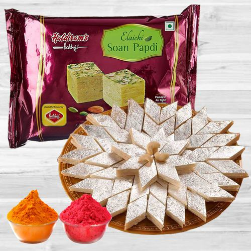 Holi Special Gift of Kaju Katli N Soan Papdi from Haldiram with Free Herbal Gulal