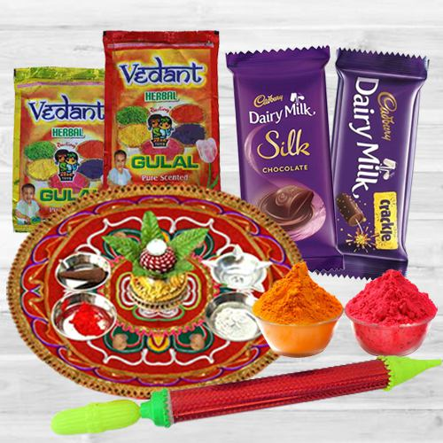 Divine Holi Combo of Puja Thali with Herbal Gulal, Pichkari  N Dairy Milk Chocolate