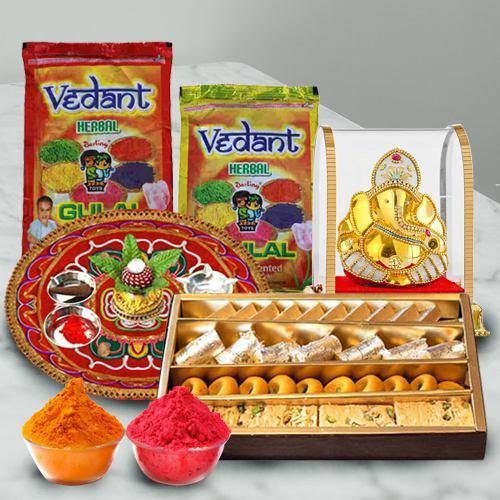 Rang Barse Combo of Herbal Gulal, Puja Thali, Ganesh Mandap N Assoorted Sweets