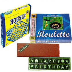 Well-Designed Board Games Set with Chocolates