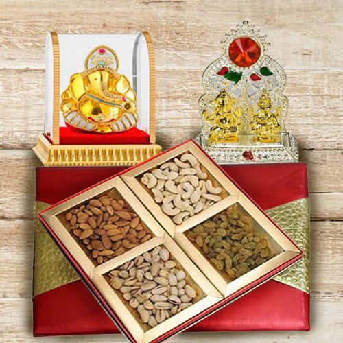 Precious Lord Ganesha Murti with Mandap and Mixed Dry Fruits Box