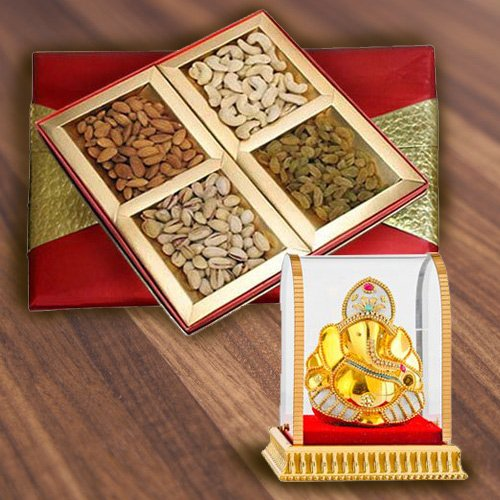 Yummy Assorted Dry Fruits Gift Box with Ganesh Murti