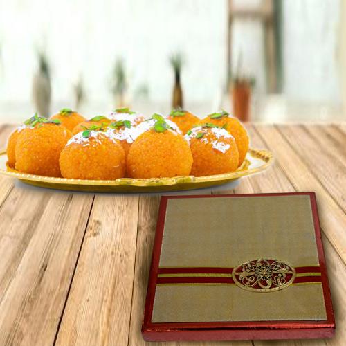 Ambrosial Gift Box of Assorted Dry Fruits with Haldiram Boondi Ladoo