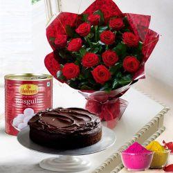 12 Red Roses and Haldiram Rasgulla with Eggless Cake 1 Kg.