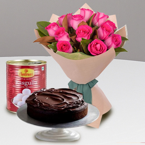 Exquisite Red Roses and Haldiram Rasgulla with Eggless Cake<br>