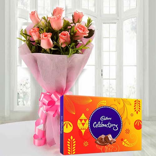 Stunning Pink Rose Bouquet with Cadbury Celebration