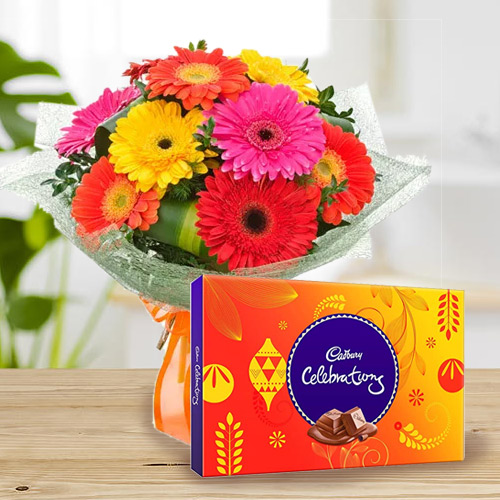 B Day Joyful Combo of Cadbury Celebration and Bouquet of Mixed Gerbera