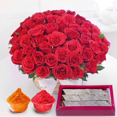 Astounding Red Roses with yummy Kaju Barfi