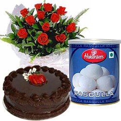 12 Red Roses and Rasgulla with Eggless Cake 1 Kg.