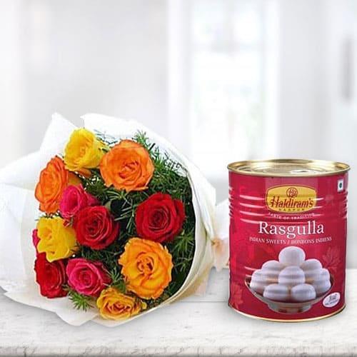 Anniversary Celebration Combo Pack of Haldiram Rasgulla and Mixed Roses