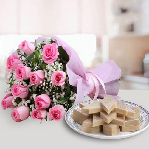 Anniversary Wishes Pink Roses Bunch with Bite-Size Kaju Katli