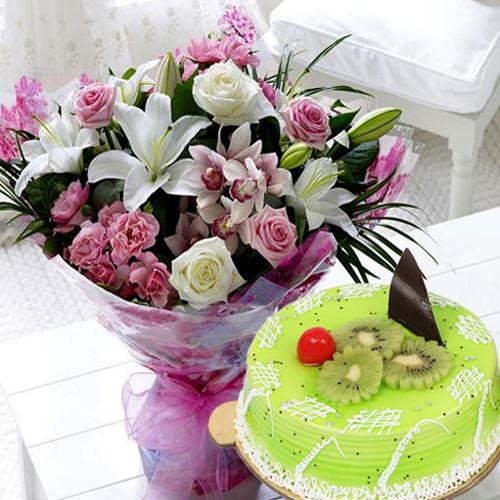 Sensational Kiwi Cake with Mixed Flowers Bouquet