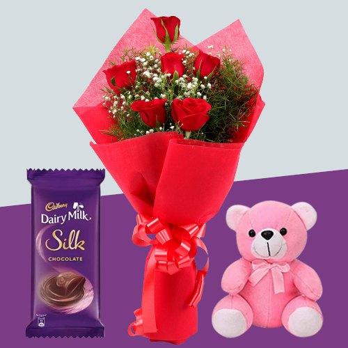 Garden Fresh Red Roses Bouquet with Teddy N Cadbury Silk