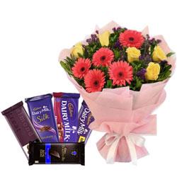 Mesmerizing Bouquet of Mixed Flowers with Assorted Cadbury Chocolates