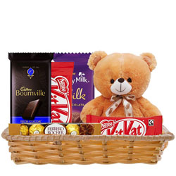 Online Gift Combo of Delightful Chocolates with Teddy