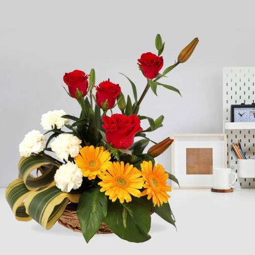 Fabulous Seasonal Blossoms Arrangement in a Basket