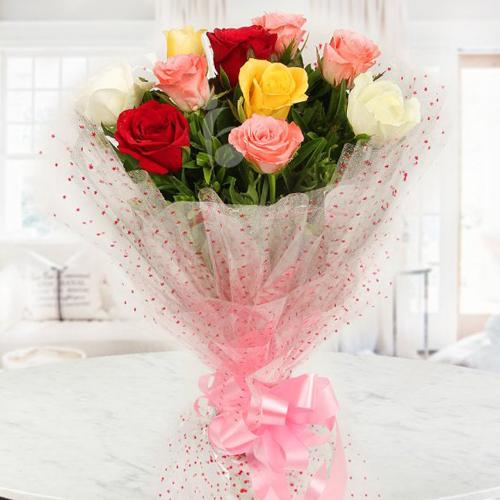 Blushing Return of Spring Mixed Roses Arrangement
