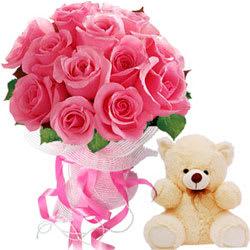 Precious Bunch of Twelve Pink Roses and Cute Teddy Bear