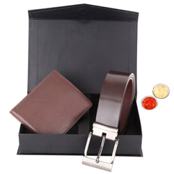 Attractive Combo of Wallet and Belt with free Roli Tilak and Chawal