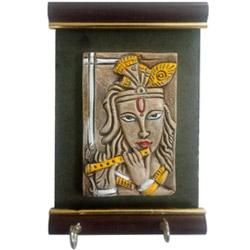 Graceful Lord Krishna Wall Key Chain Holder