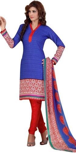 Attractive Crepe and Chiffon Printed Salwar Suit from Siya