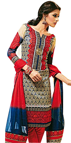 Designer Shobhas Black and Red Salwar Kameez of Cotton and Chiffon