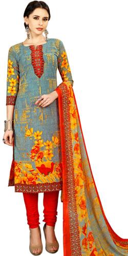 Graceful Spun Cotton Salwar Suit in Floral Print