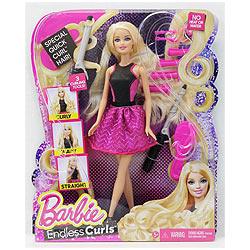 Gorgeous Barbie Blonde Endless Curls Hair Doll
