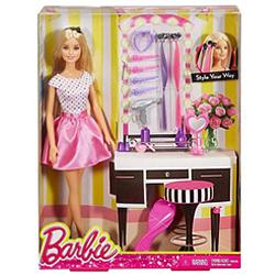 Designer Gift of Barbie Doll Hair N Make-Up Kit for Kids