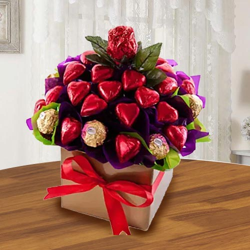 Remarkable Ferrero Rocher n Heart Shaped Hond-made Chocolates Arrangement