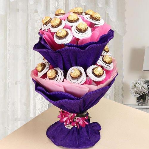 Wonderful Double Tier Ferrero Rocher Chocolate Bouquet
