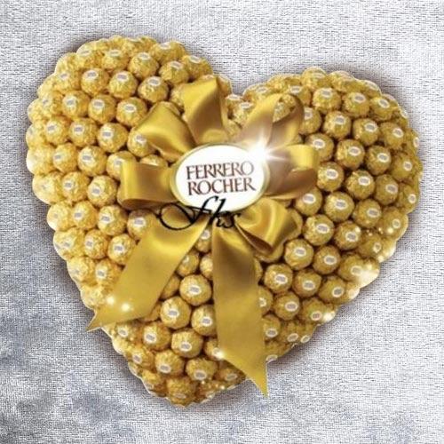 Remarkable Heart Shaped Arrangement of Ferrero Rocher Chocolate