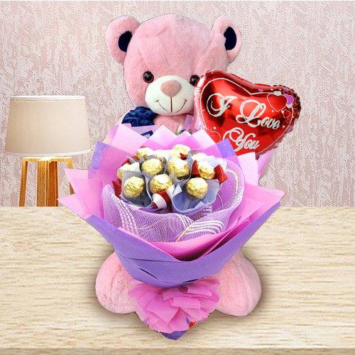 Remarkable Ferrero Rocher Bouquet, Teddy N I Love You Mylar Balloon