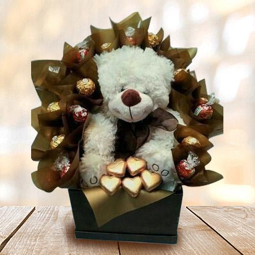 Marvelous Teddy with Handmade Chocolates Arrangement