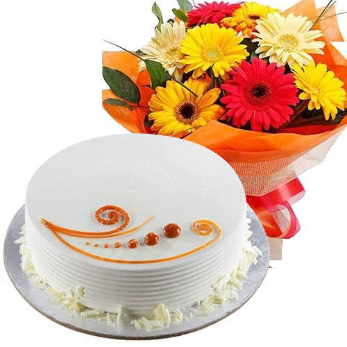 Graceful Mixed Flowers Bunch with Vanilla Cake