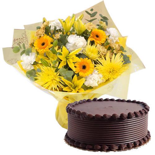Luminous Mixed Flowers Bunch with Eggless Choco Cake