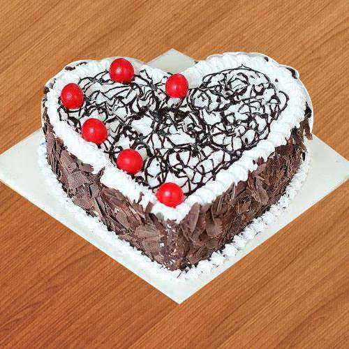 Tasty Black Forest Cake in Heart-Shape