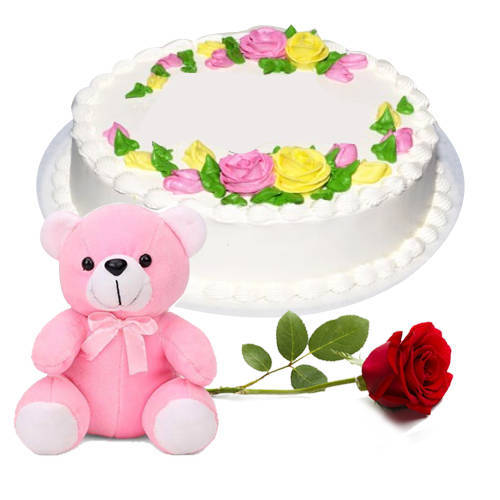 Cheerful Combo of Vanilla Cake with Teddy N Red Rose