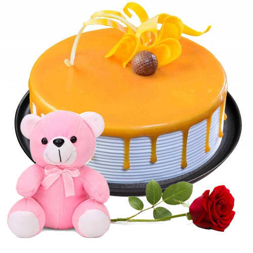 Fantastic Teddy with Red Rose N Eggless Butter Scotch Cake