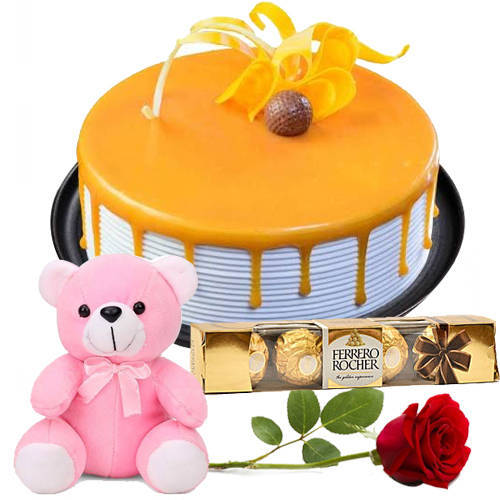 Surprising Combo of Ferrero Rocher with Red Rose, Teddy N Butterscotch Cake