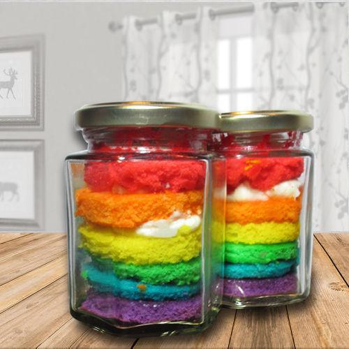 Special Rainbow Jar Cakes
