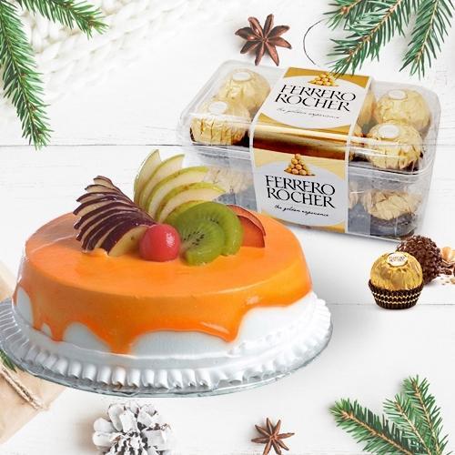 Yummy Fresh Fruits Cake with Ferrero Rocher