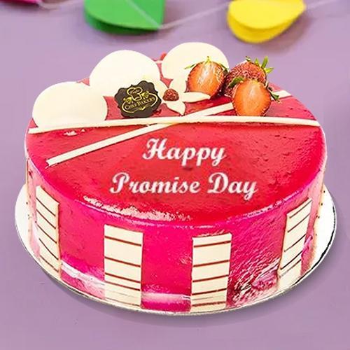 Tasty Fresh Fruit-N-Strawberry Cake for Promise Day