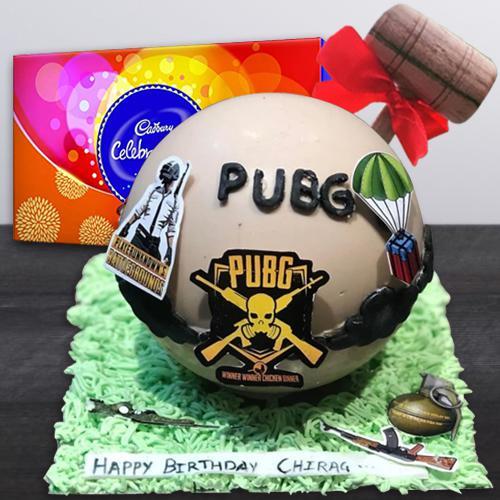 Marvelous PUBG Styled Smash Cake with Hammer n Cadbury Celebrations Pack